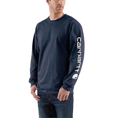 Carhartt Men's Workwear Long-Sleeve Graphic Navy T-Shirt