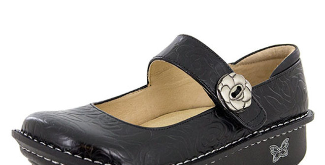 Alegria Paloma Black Embossed Rose Mary Jane