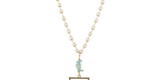 Jane Marie Bead Necklace with Amazonite Stack Stones