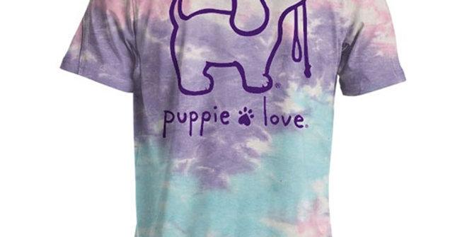 Puppie Love Women's Cotton Candy Tie Dye Pup Shirt