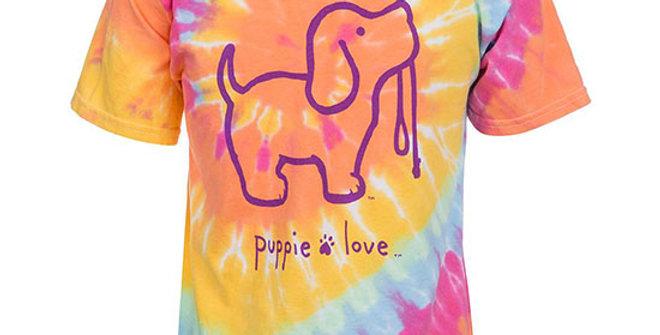 Puppie Love Women's Aerial Tie Dye Pup Shirt