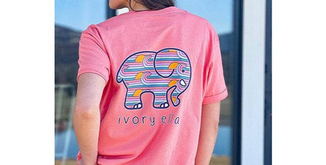 Ivory Ella Heritage Sunset Stripes Oversized T-Shirt