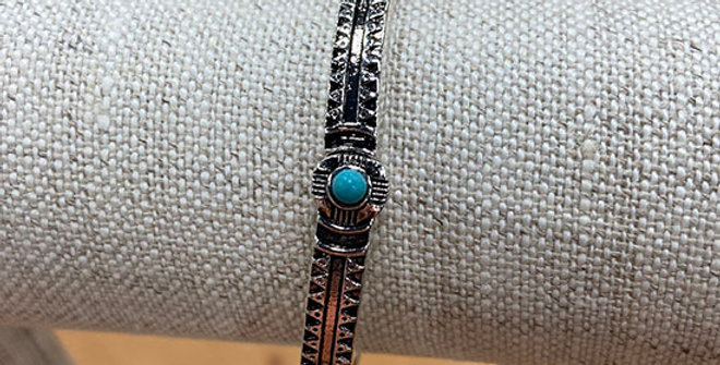 Periwinkle Silver and Turquoise Stretch Bracelet