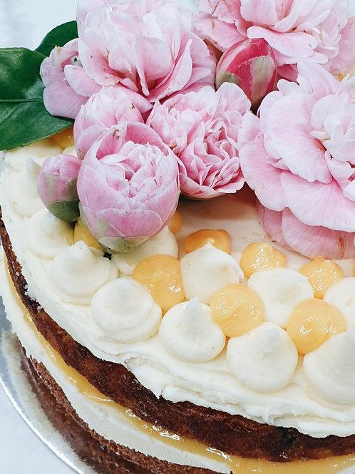 Raspberry Coconut and Lemon Cake