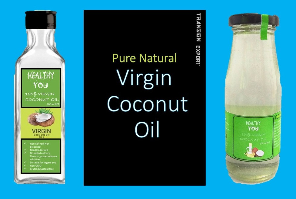 """HEALTHY YOU"" brand of pure & natural virgin coconut oil from TRANSION EXPORT comes to you aith no addition of chemicals, no additives, no preservatives and no temperature addition."