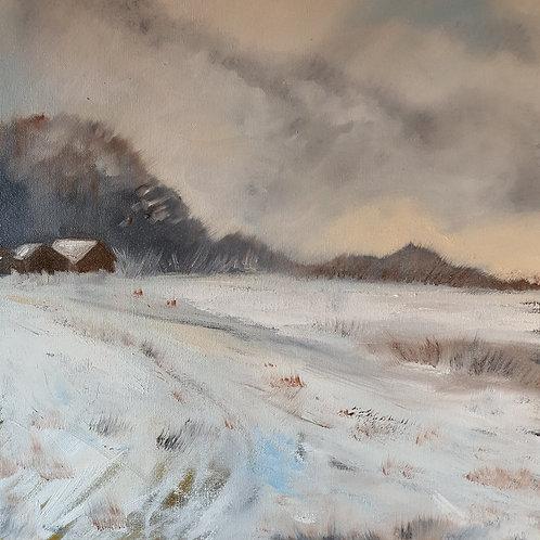 Snowy Lane Oil on Canvas 40x40cm