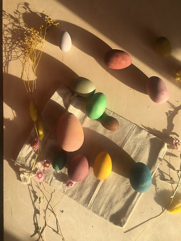 Colored wooden Easter eggs