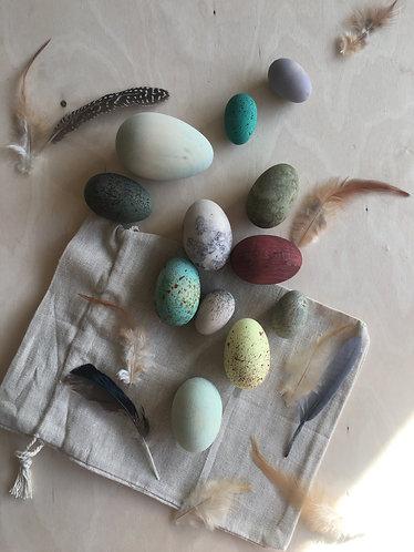 Handpainted wooden bird eggs