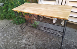 Wooden top metal base high table