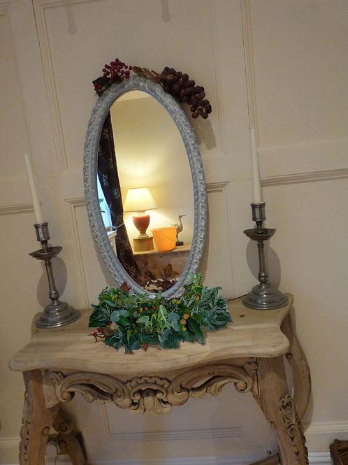 Vintage Blue Plaster Oval Mirror