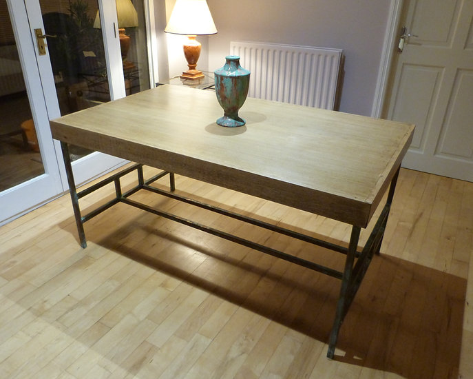 Oak and Steel mid century dining table