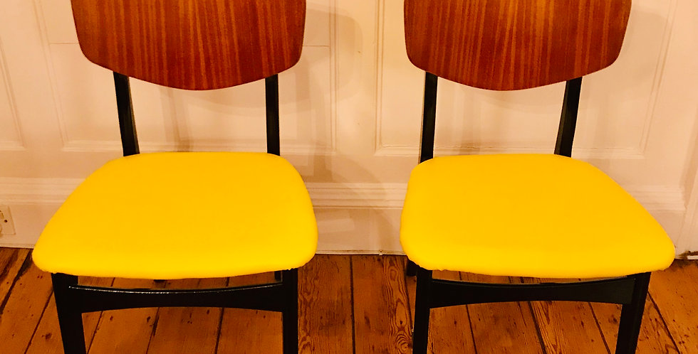 A Pair of Vintage Classic Dining Chair-YELLOW