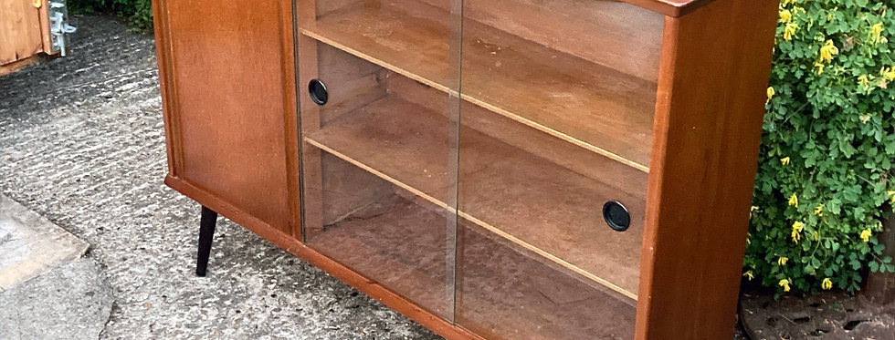 Mid Century Cabinet with glass sliding doors