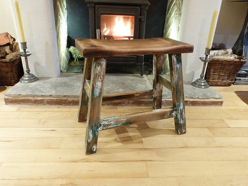 Rustic hardwood stool with stripped back paint - NOW SOLD