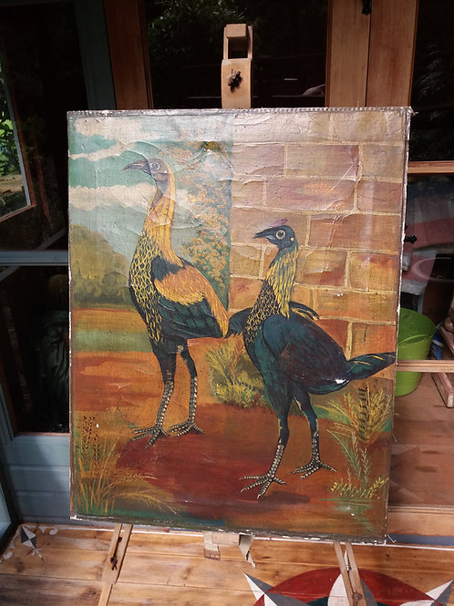Primitive/Naive Folk Art Style Painting of a pair of Cockerels