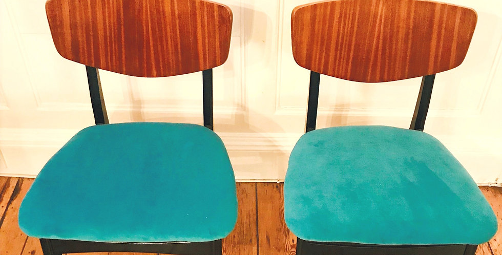 A Pair of Vintage Classic Mid Century Dining Chairs-BLUE