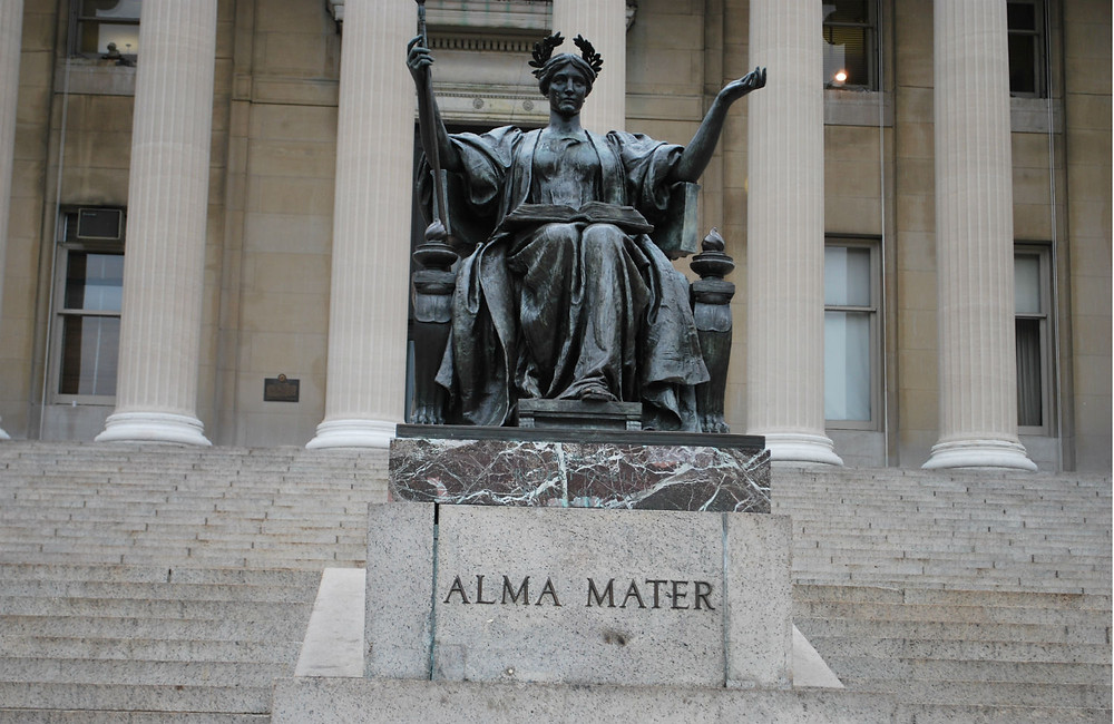 """Alma Mater,"" a sculpture of the goddess Athena, by Daniel Chester French, located at Columbia University"