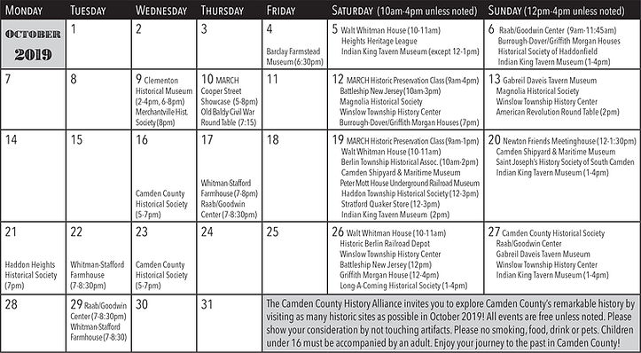 Calendar from History Month 2019 Event G