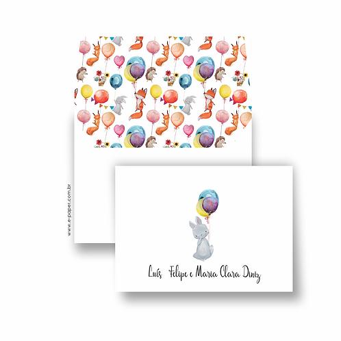 Cartão duplo para aniversários balões | 10 unidades