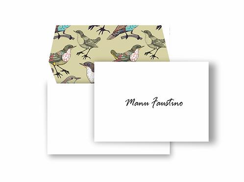 Cartão duplo com envelope estampado Boho Birds   10 unidades