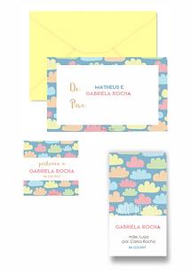 Conjunto papelaria pessoal infantil | Nuvens de algodão