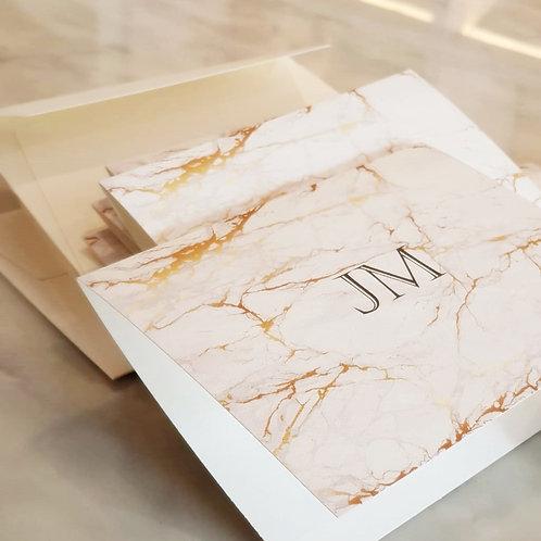 Cartão duplo marmorado dourado | 10 unidades