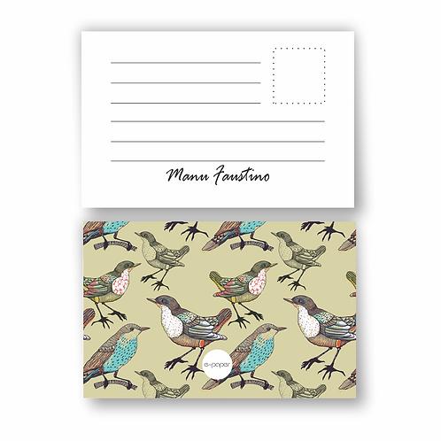Cartão tipo Postal  Boho Birds   12 unidades