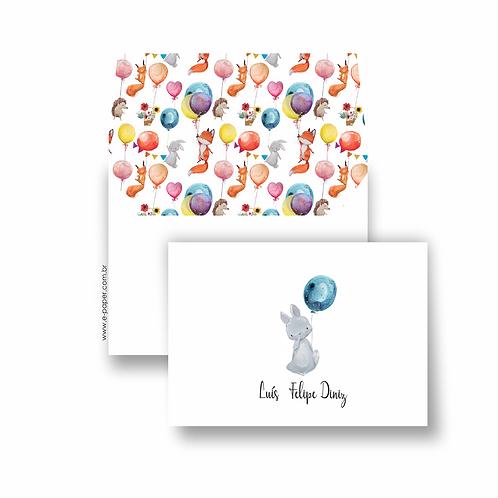 Cartão duplo para aniversários balão azul | 10 unidades