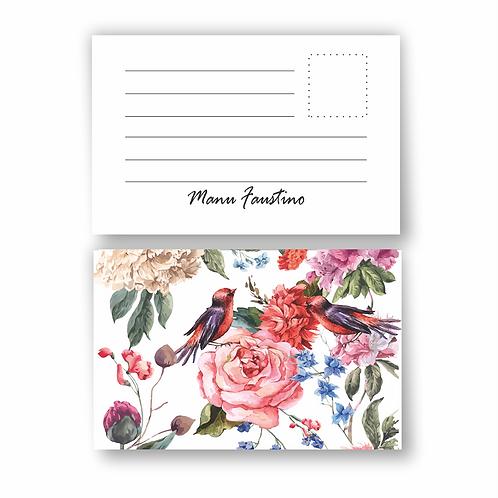 Cartão tipo Postal  Floral birds | 12 unidades