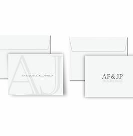Cartão duplo monograma em papel texturizado e-paper | 10 unidades