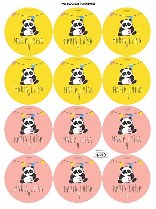 Tags redondas Panda | 12 unidades