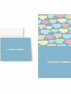 Cartão duplo estampado Nuvens de algodão | 10 unidades