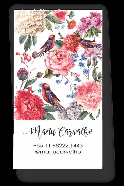 Cartões pessoais Floral birds | 50 unidades