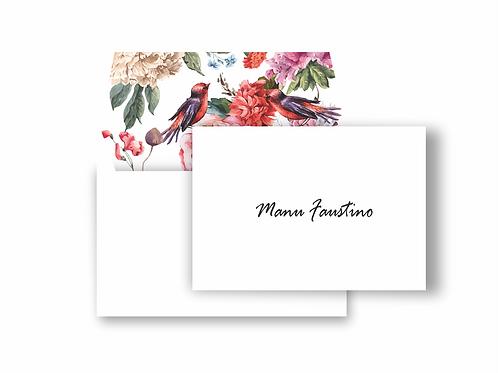 Cartão duplo com envelope estampado Floral birds | 10 unidades