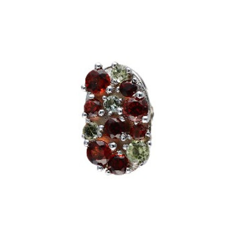 Oval Garnet and Peridot COLOR LIGHTS tipit-S