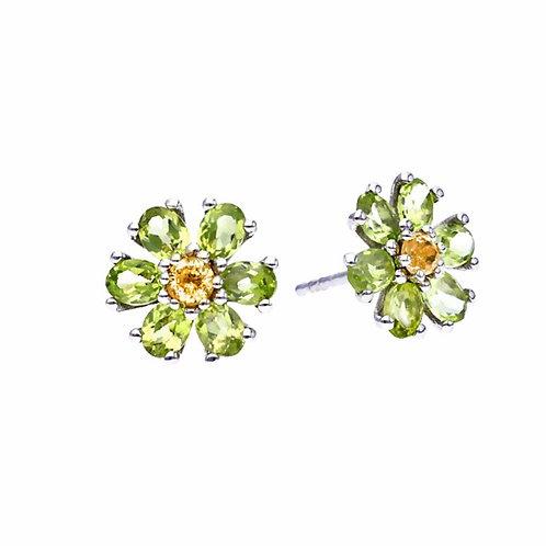 KRISTALLBLÜTE Peridot Earrings