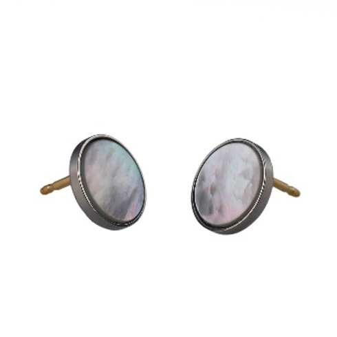 10mm White Mother-Of-Pearl EAR BUTTONS