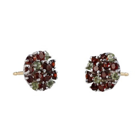 COLOR LIGHTS Garnet and Peridot Earrings