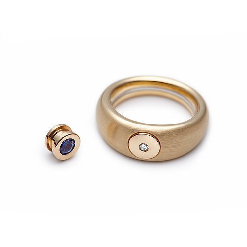Sapphire and Diamond DUO Cylinder in Gold