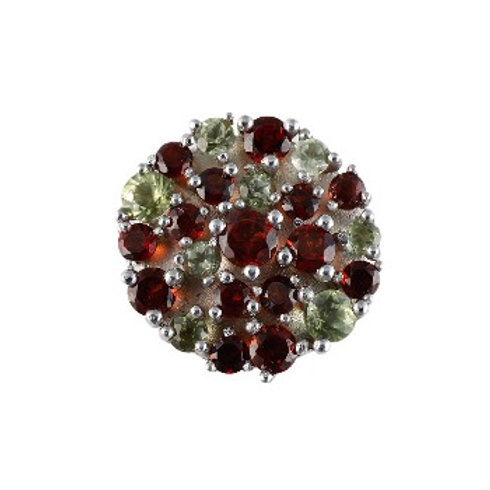14mm Garnet and Peridot COLOR LIGHTS centerpiece