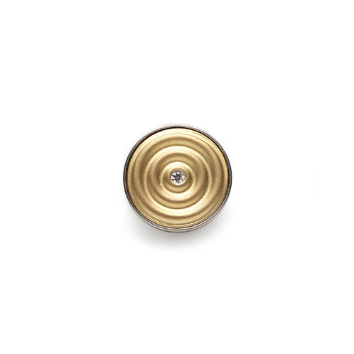 14mm Wave and Diamond GOLD BUTTON