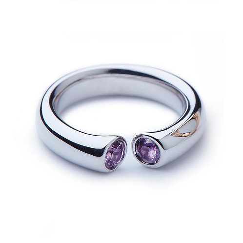Pink Sapphire and White Gold DIALOG Ring
