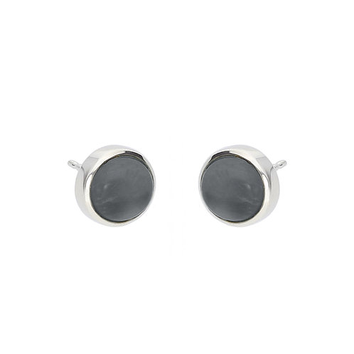 Hematite and Crystal Cabochon Earrings