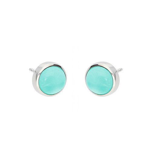 Turquoise and Crystal Cabochon Earrings