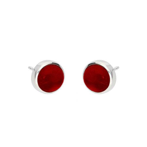 Garnet Cabochon Earrings