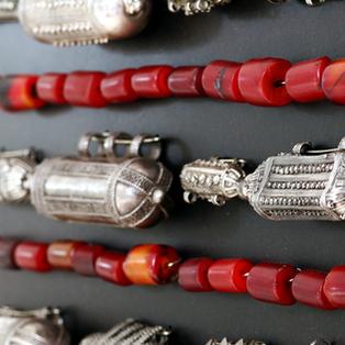 Old Yemenite amulets, Bedouin amber beads