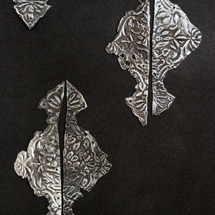 Silver ornaments of old Yemenite Torah case (around 100 years old)