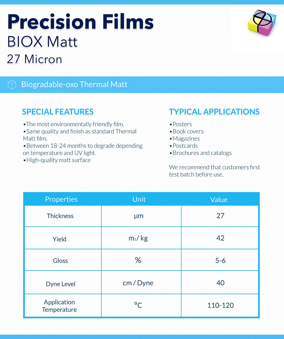 Lamination Film-BIOX-biodegradable Matt