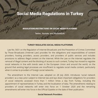 Turkey Sociall Media Regulation