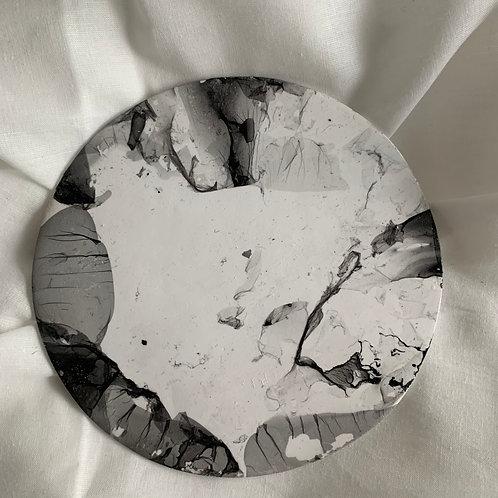 Coupelle ronde plate en argile effet marbre